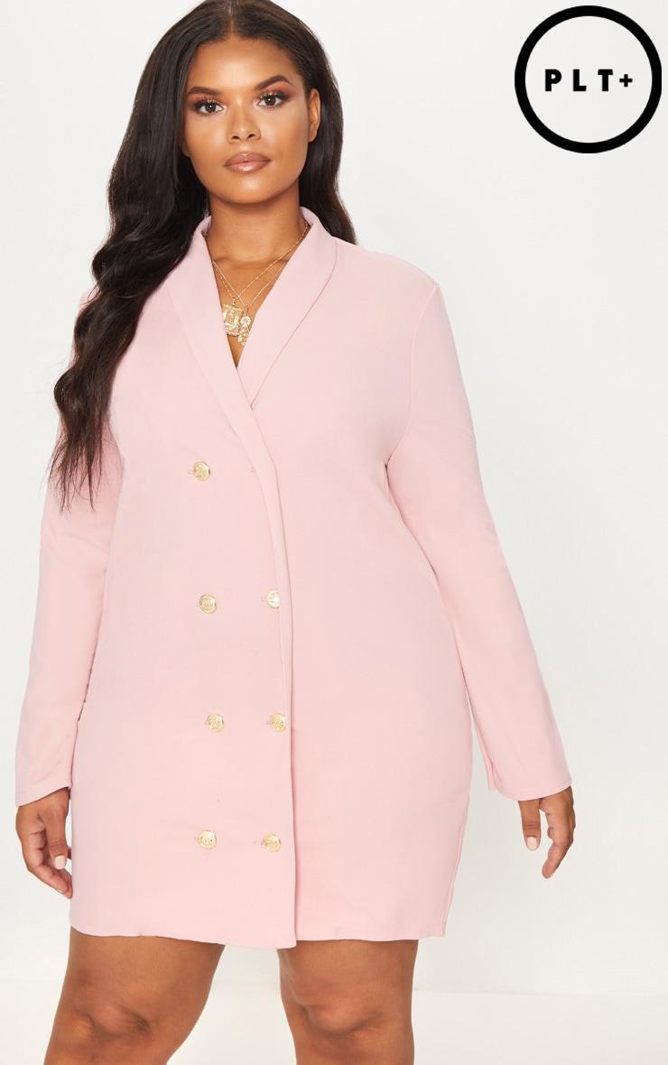Plus Dusty Pink Gold Button Oversized Blazer Dress 1