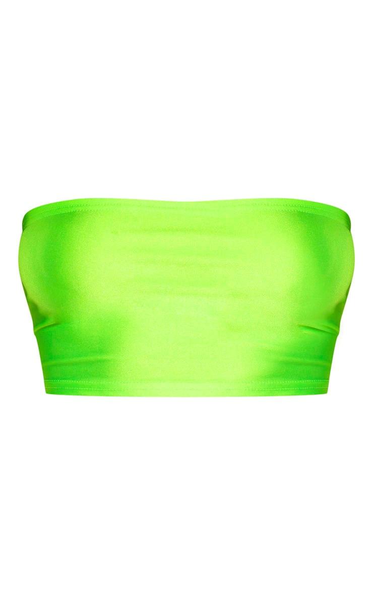 Lime Neon Disco Bandeau Crop Top 3