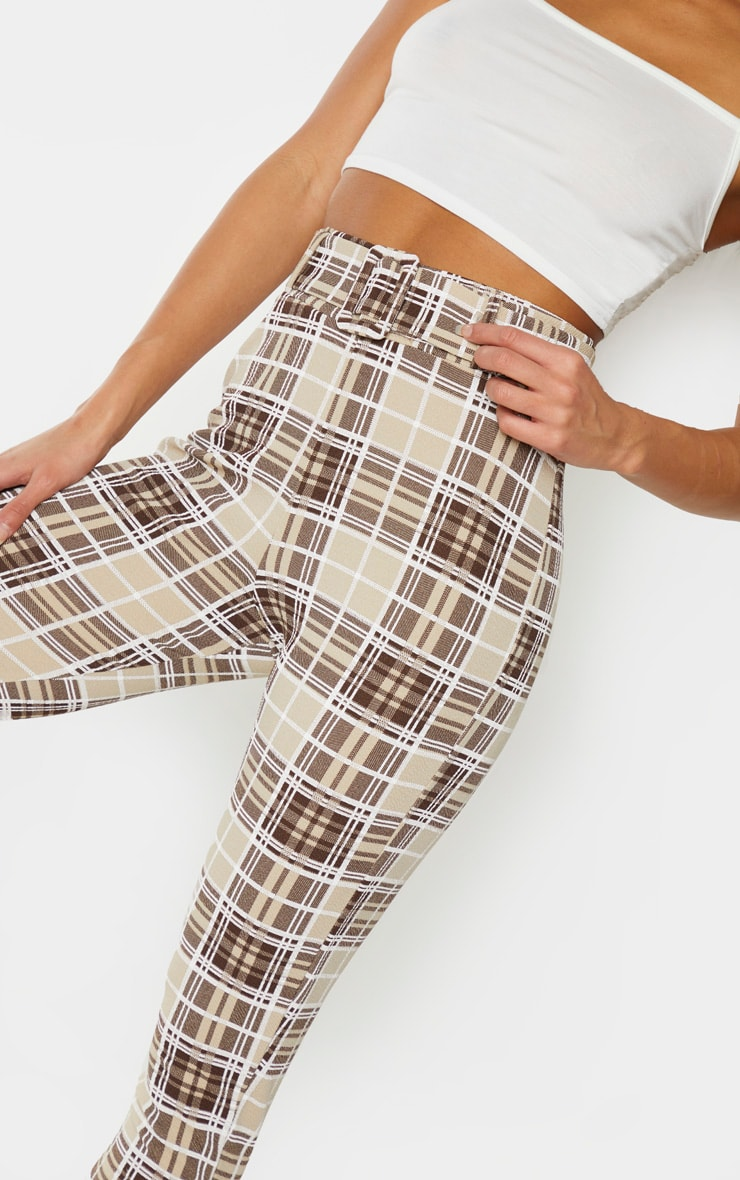 Stone Check Belted Skinny Trousers 4