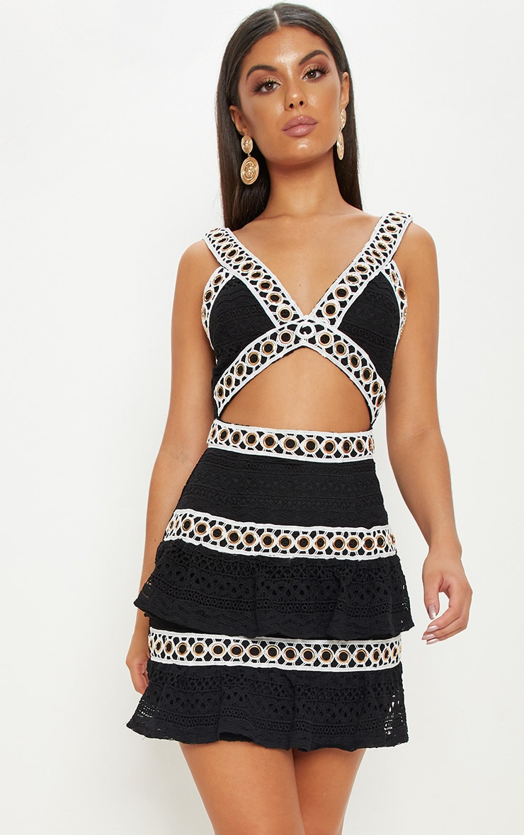 Black Lace Contrast Eyelet Trim Tiered Bodycon Dress 3