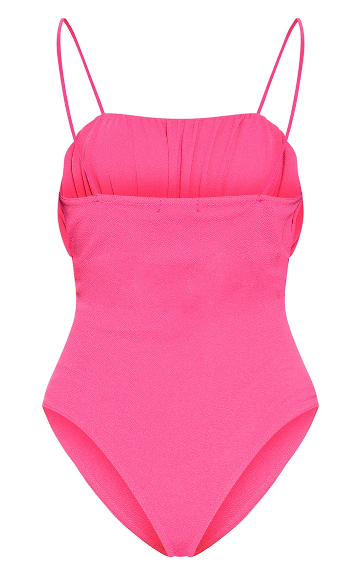 Hot Pink Ruched Bust Sleeveless Bodysuit 4
