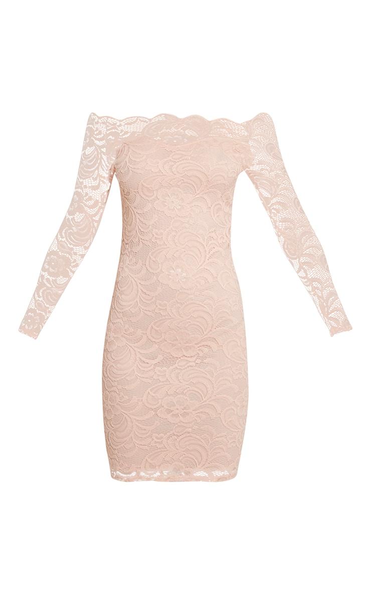 Alice Nude Bardot Lace Midi Dress 3