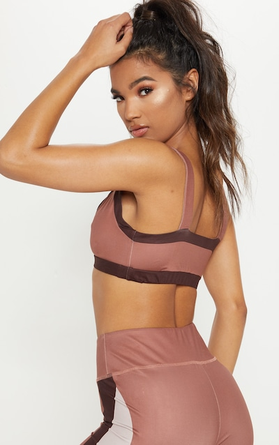 Rose Contrast Panelled Sports Top