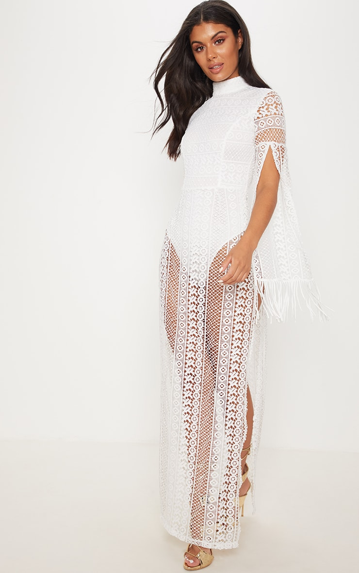 White Crochet Split Leg Maxi Dress 1