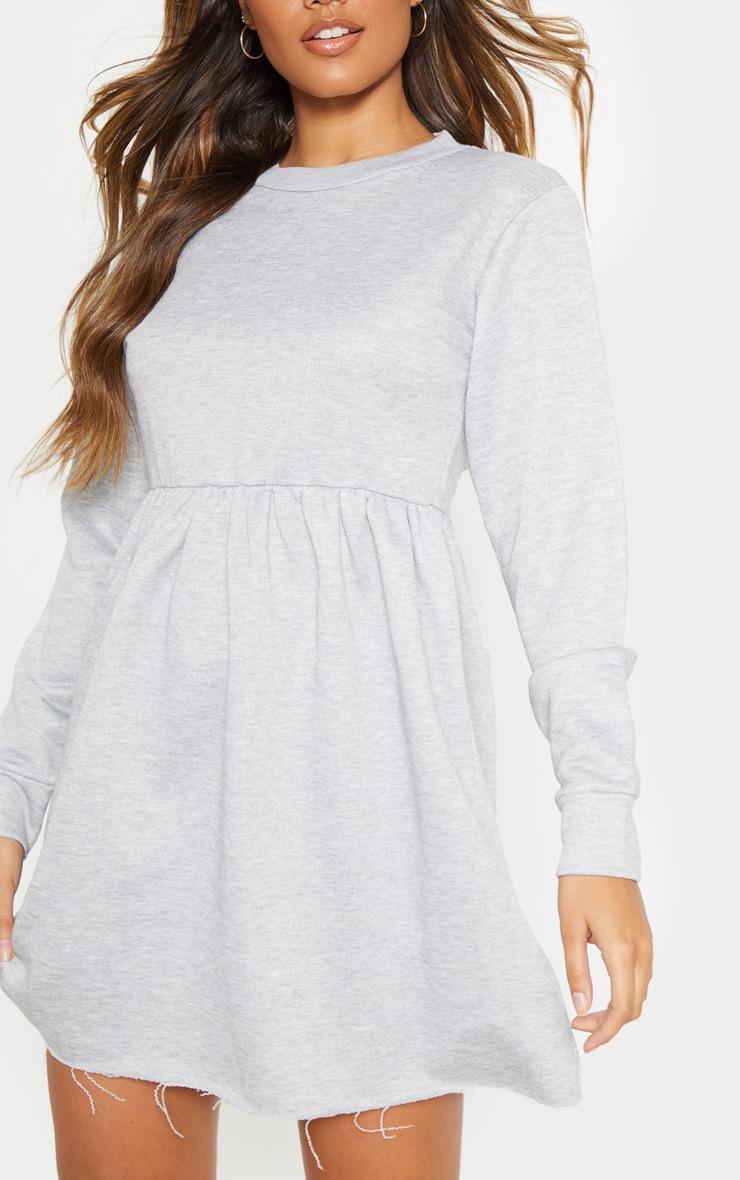 Grey Sweat Long Sleeve Smock Dress 5