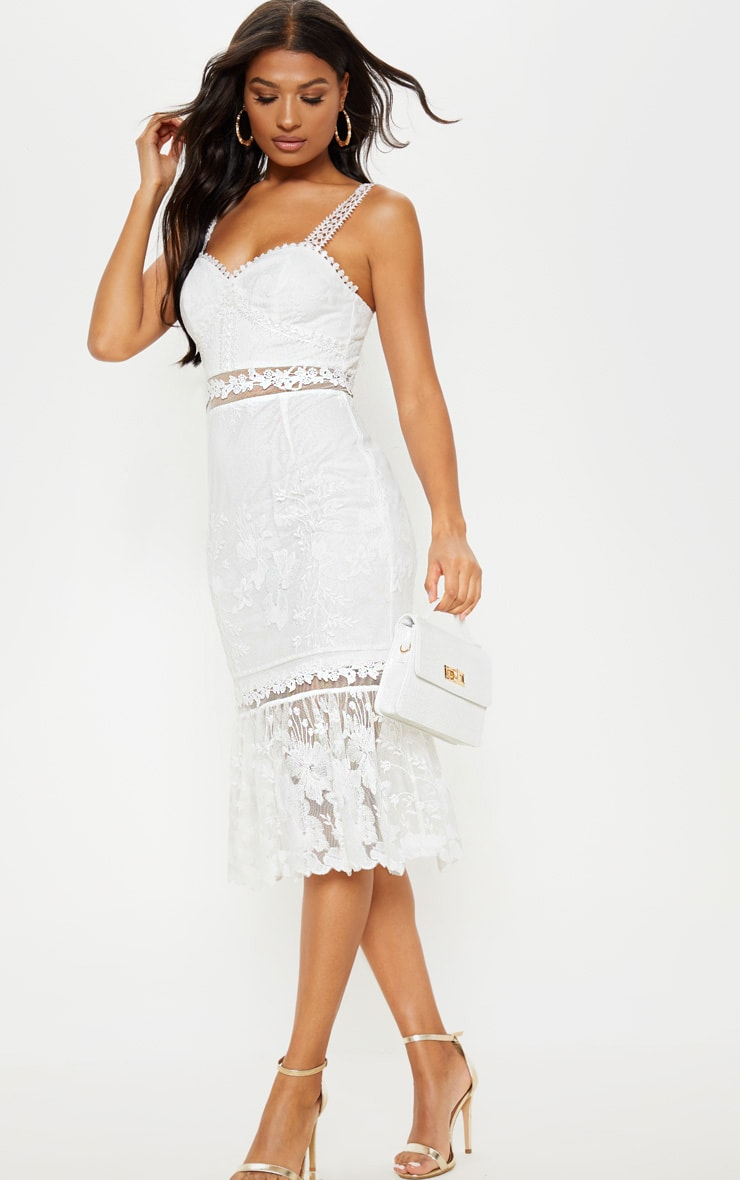 White Mixed Lace Midi Dress 4