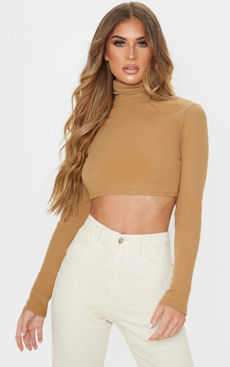 Tan Ribbed Roll Neck Crop Top 1