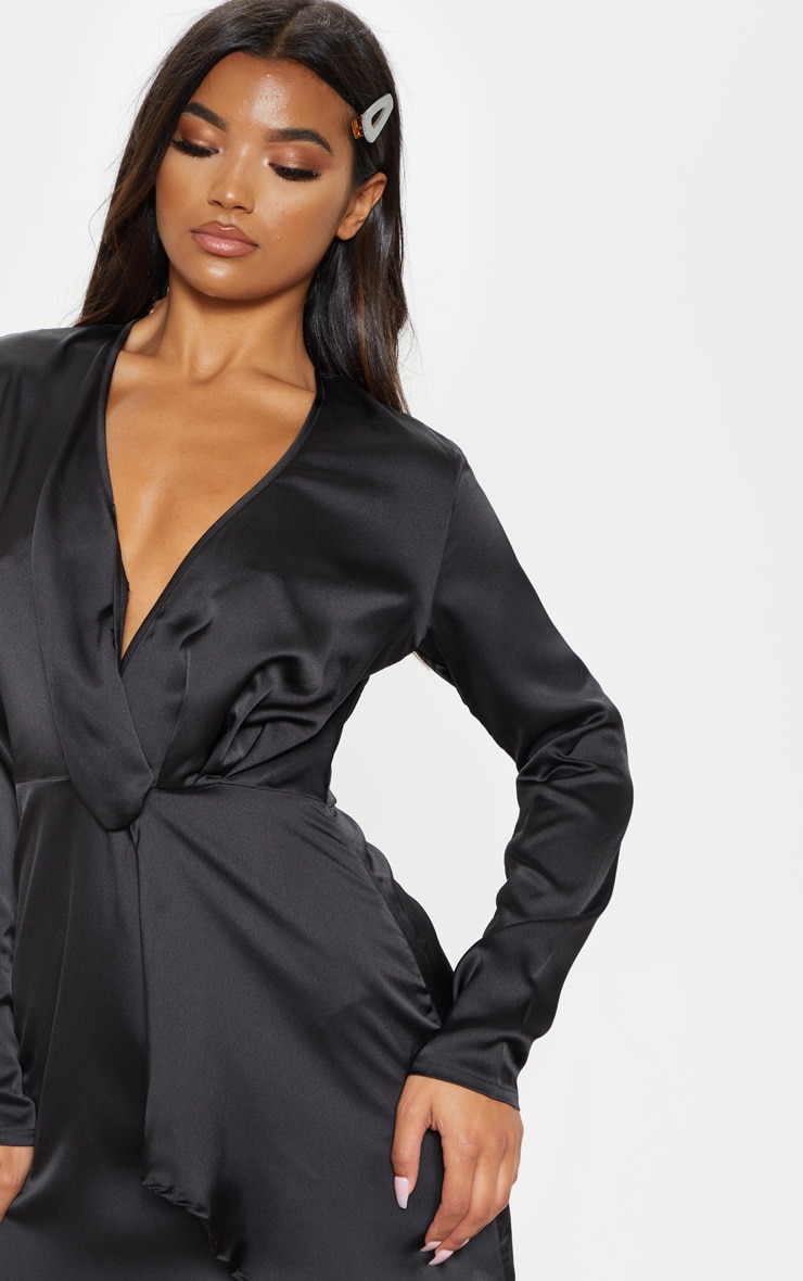 Black Satin Long Sleeve Wrap Dress  5