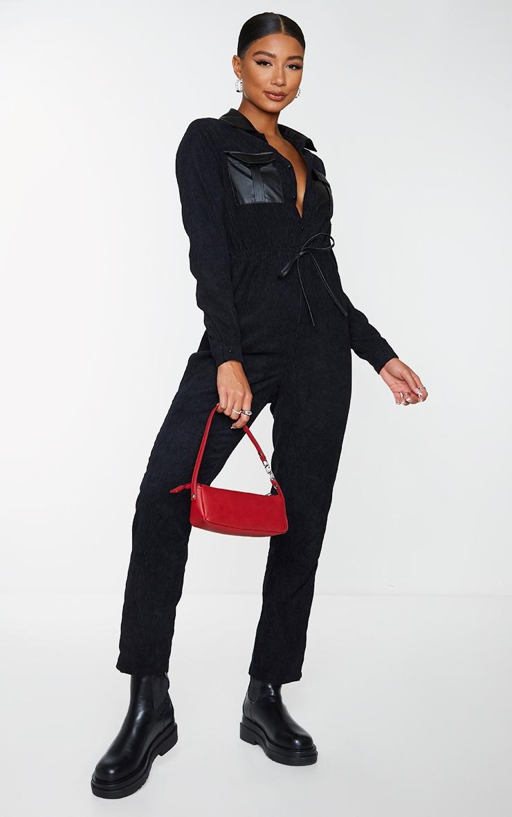 Black PU Pocket Detail Button Cord Jumpsuit 1