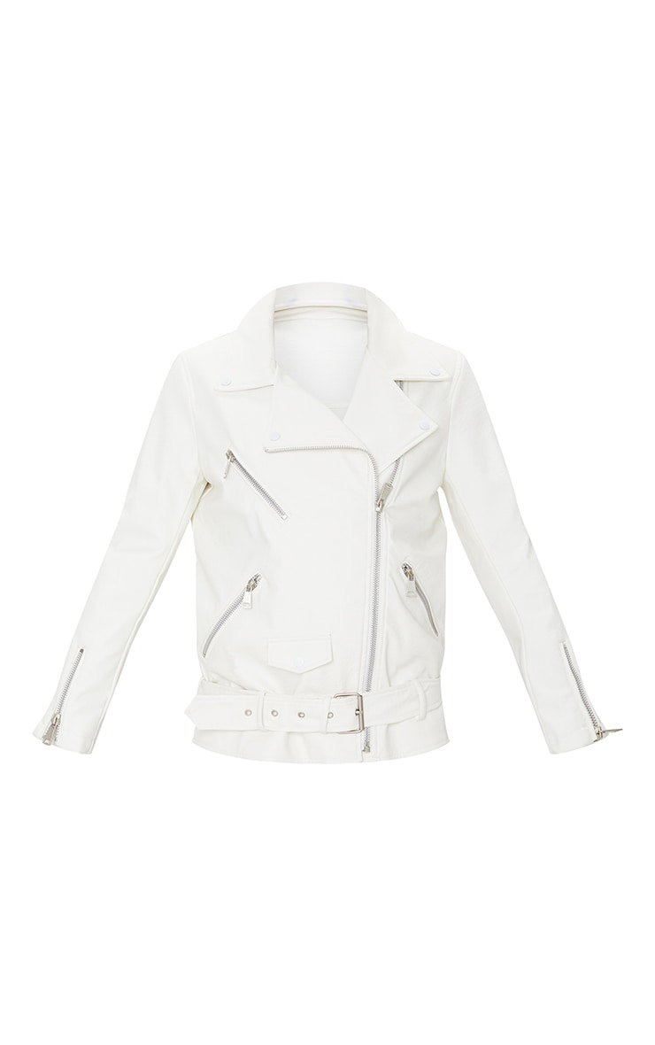 White Oversized Faux Leather Zip Detail Biker Jacket 5