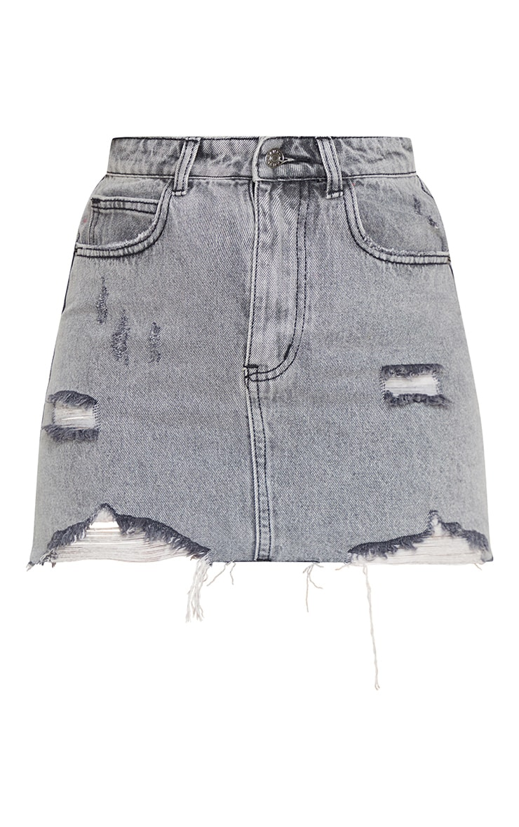 Washed Grey Distressed Extreme Mini Denim Skirt 3