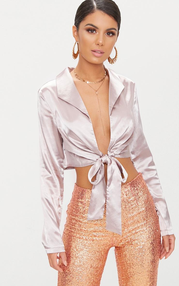 Mauve Tux Satin Tie Waist Shirt 1