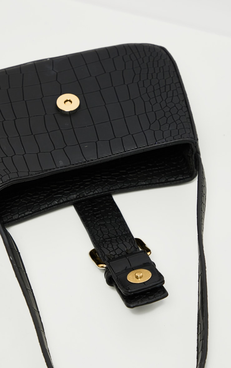 Black Croc Buckle Front Shoulder Bag 5