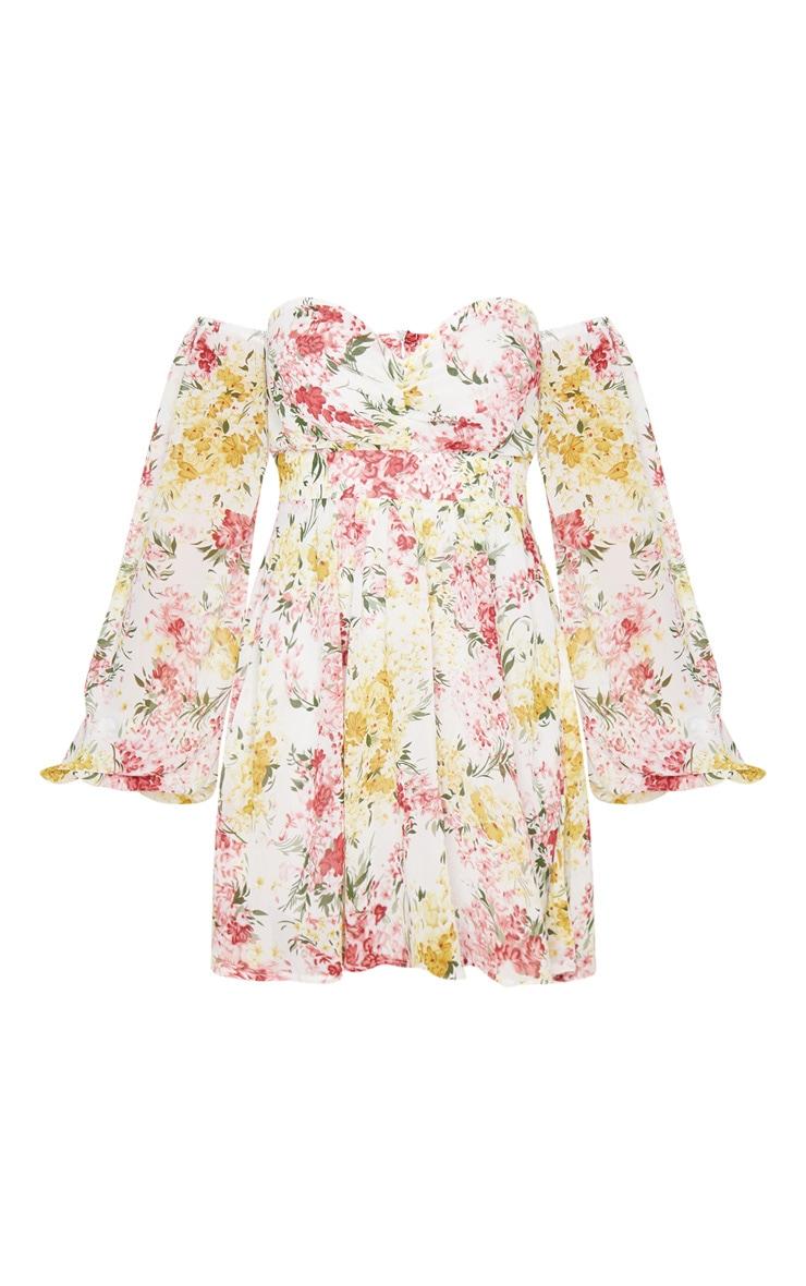 Petite Cream Floral Chiffon Long Sleeve Swing Dress 4