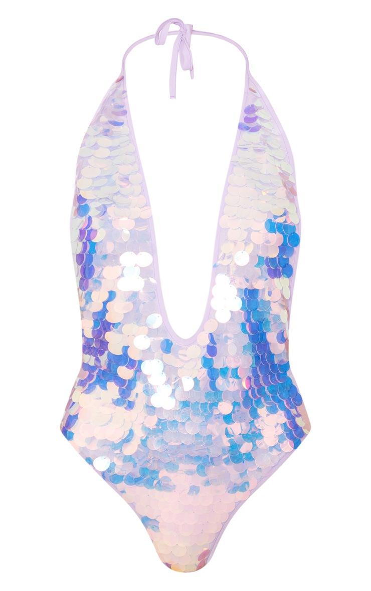 Maillot de bain en sequins lilas à décolleté plongeant 2