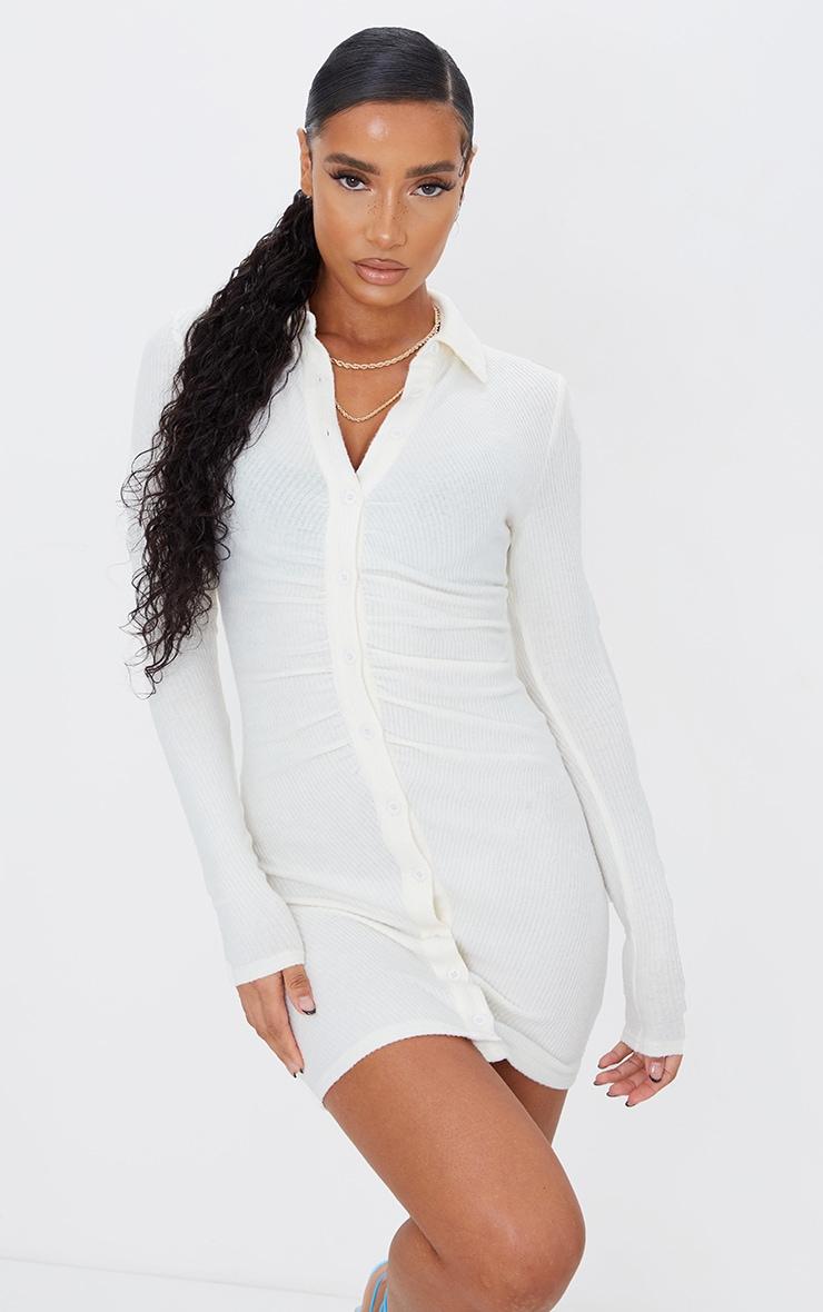 Cream Brushed Rib Long Sleeve Ruched Shirt Dress 1