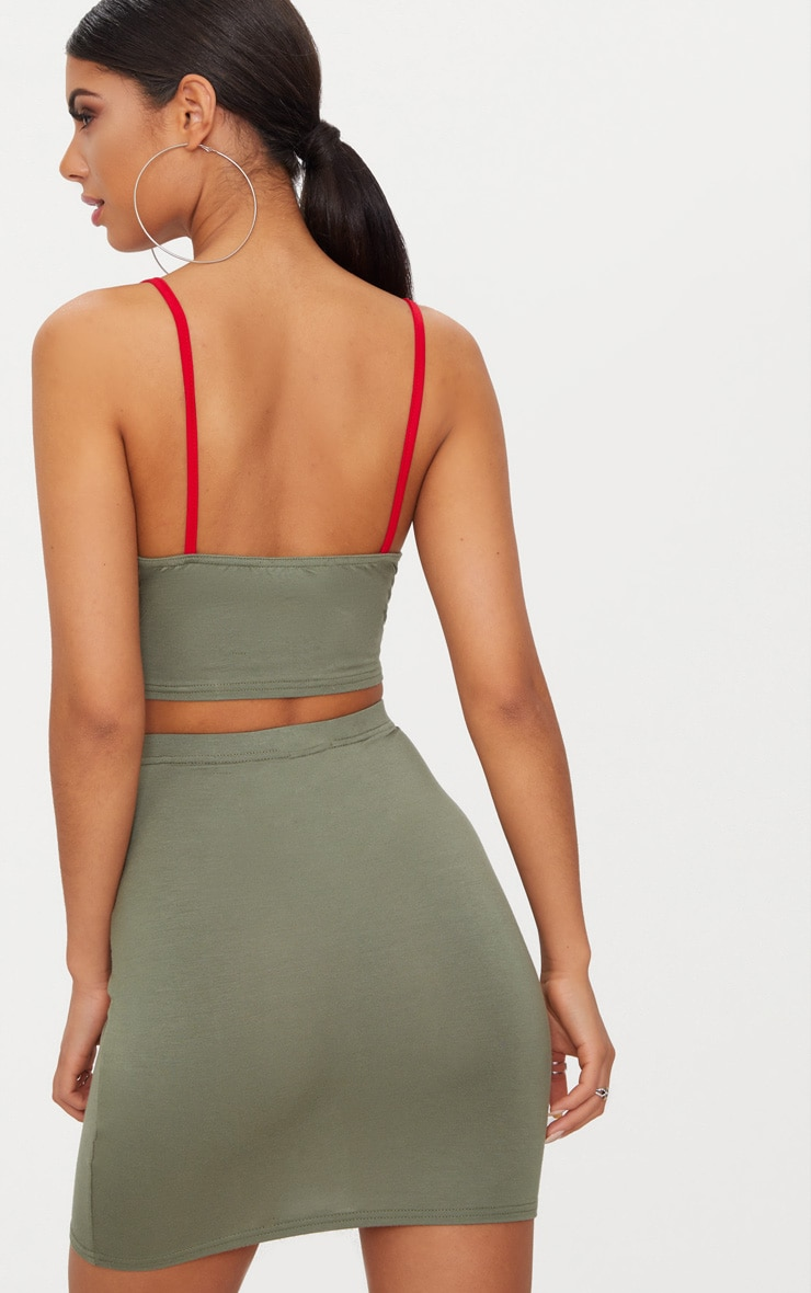 Khaki Contrast Binding Strappy Crop Top 2