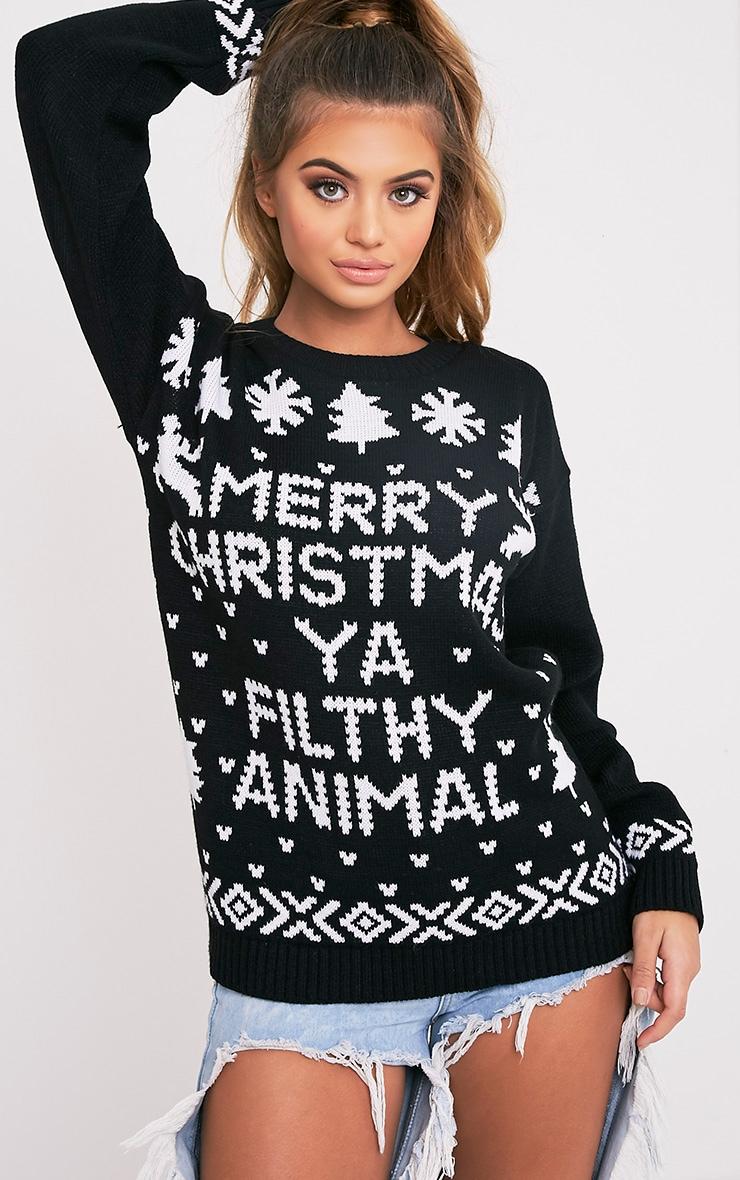 Merry Christmas Ya Filthy Animal Black Christmas Jumper 1