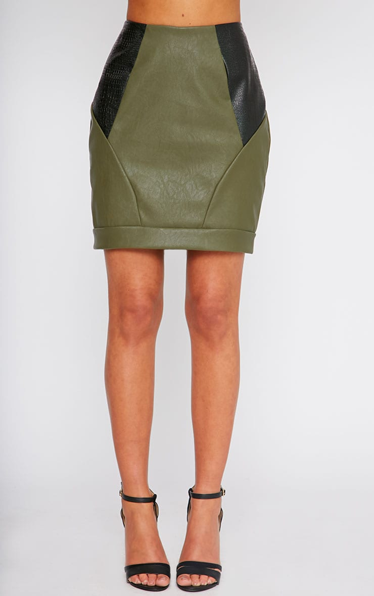 Phay Khaki Leather Panel Mini Skirt 3