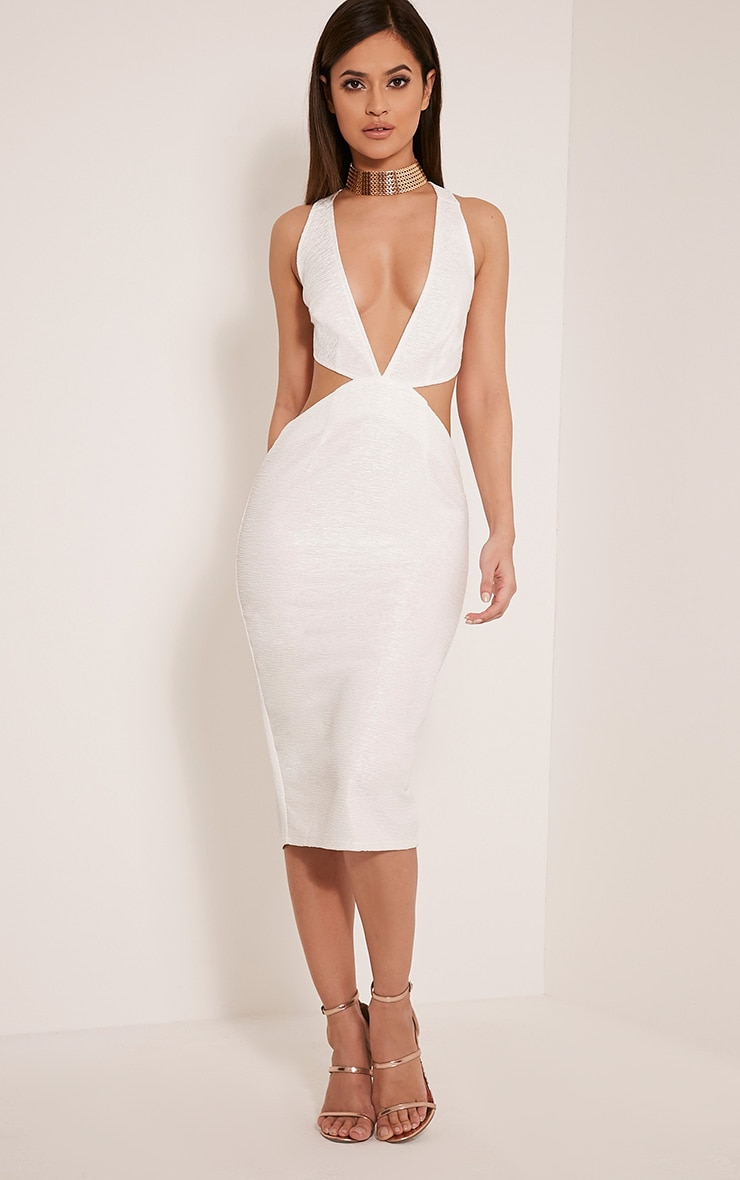 Dale White Textured  Plunge Cross Back Midi Dress 1