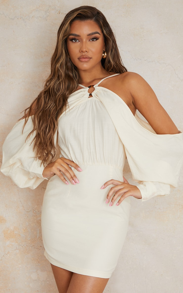 Stone Linen Look Batwing Sleeve Strappy Detail Bodycon Dress 3