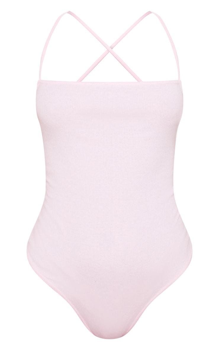 Baby Pink Rib Strappy Back Thong Bodysuit  3