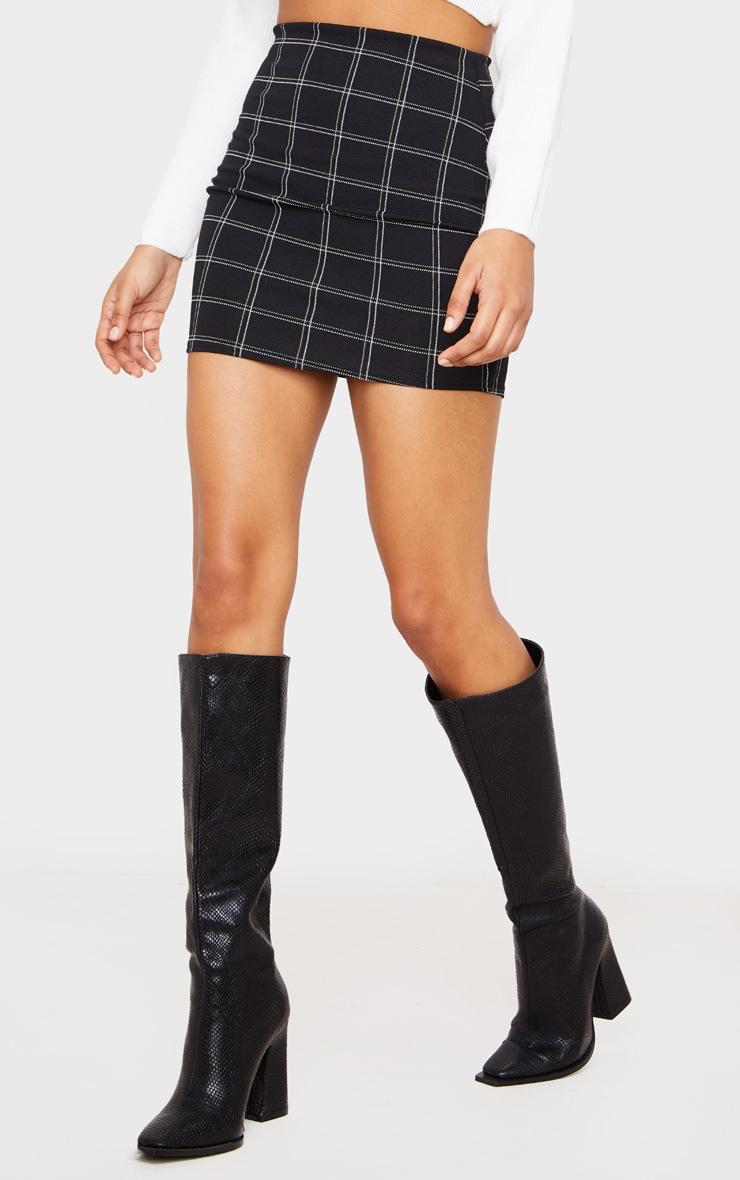 Black Checked Mini Skirt 2