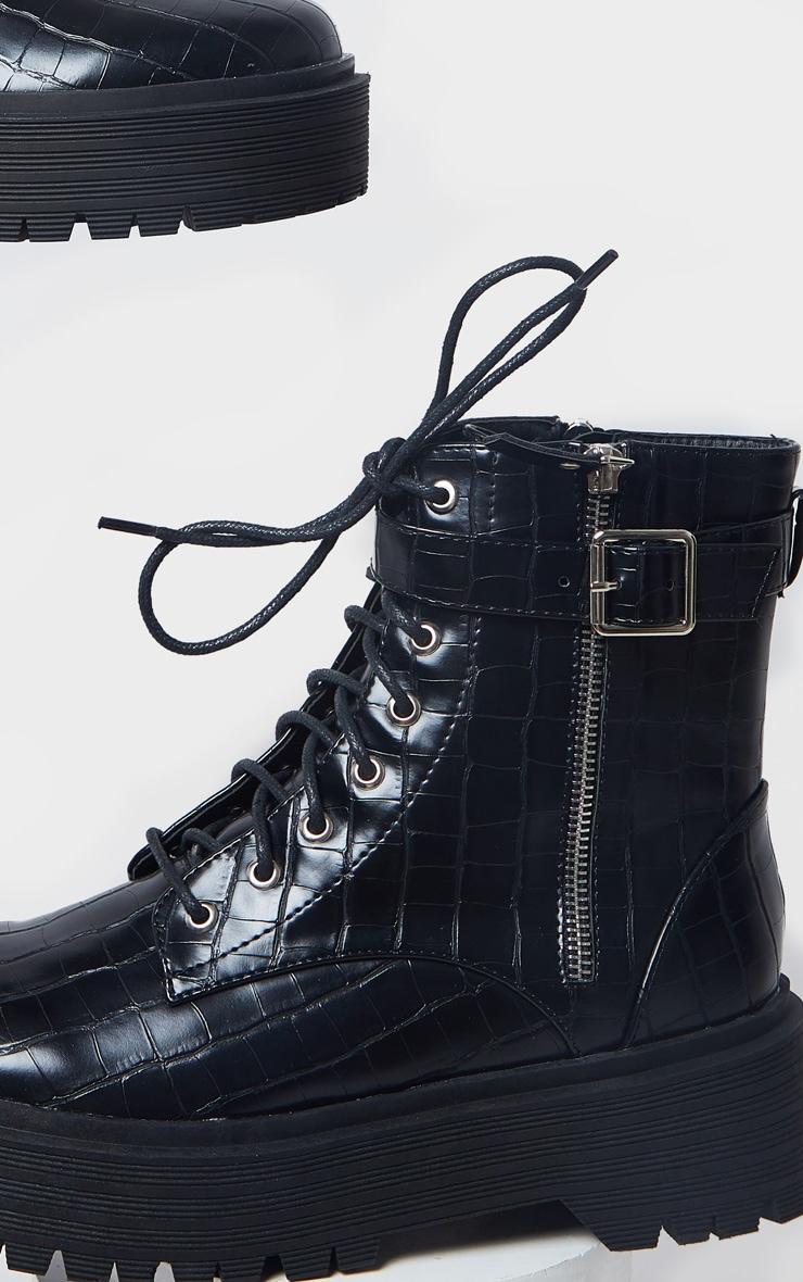 Black Double Sole Lace Up Buckle Biker Boot 3