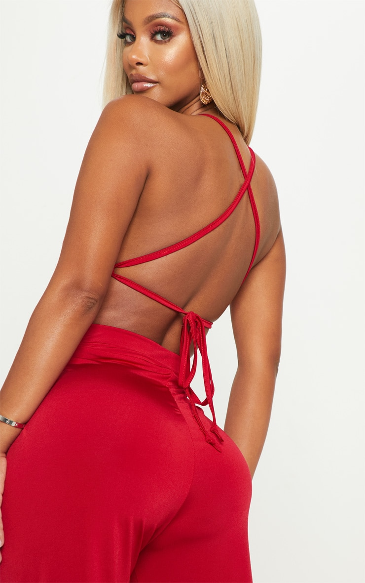Shape Red Slinky Strappy Back Wide Leg Jumpsuit 4