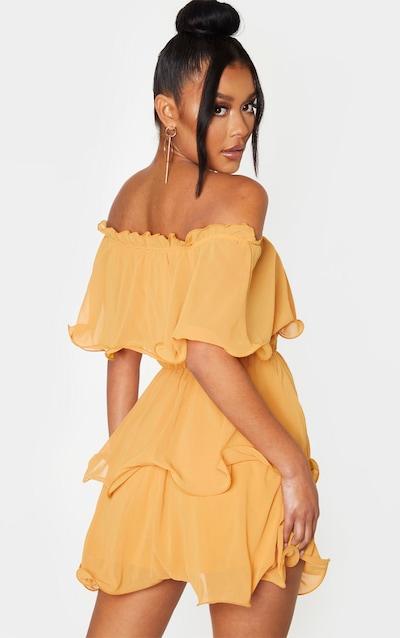 Mustard Chiffon Bardot Ruffle Tiered Dress