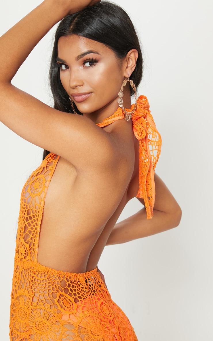 Orange Crochet Lace Halterneck Jumpsuit 5