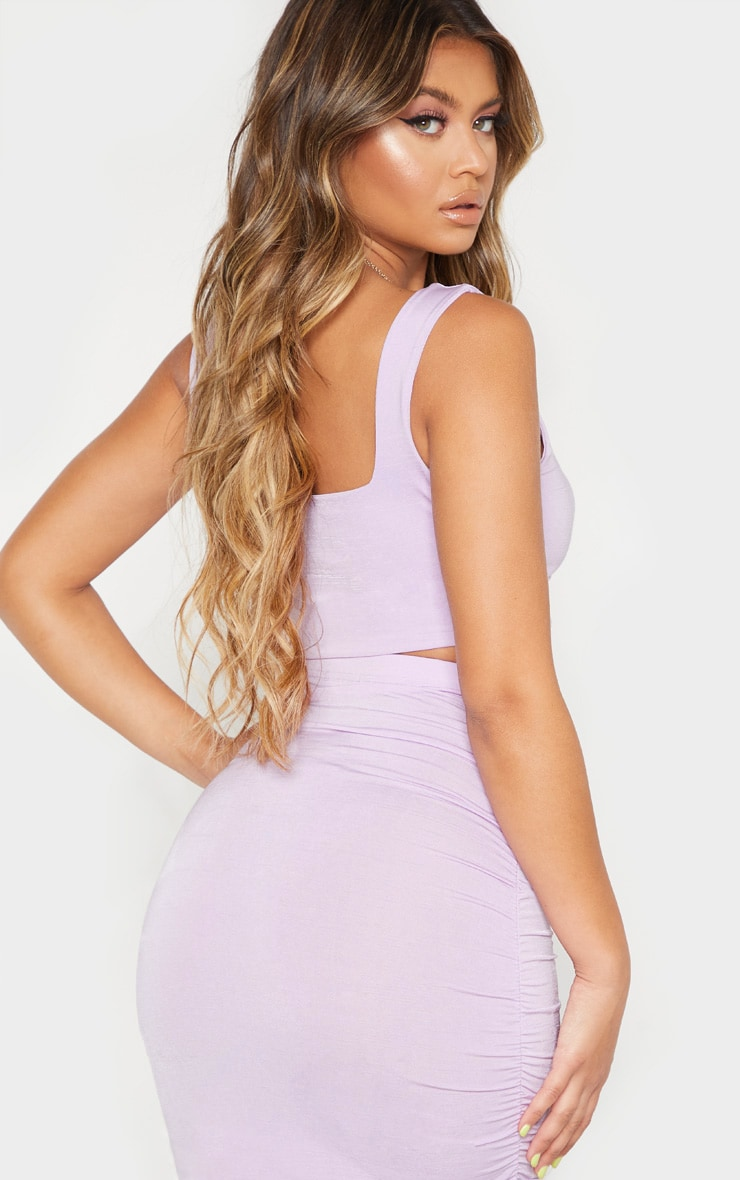 Lilac Second Skin Slinky Square Neck Crop Top  2