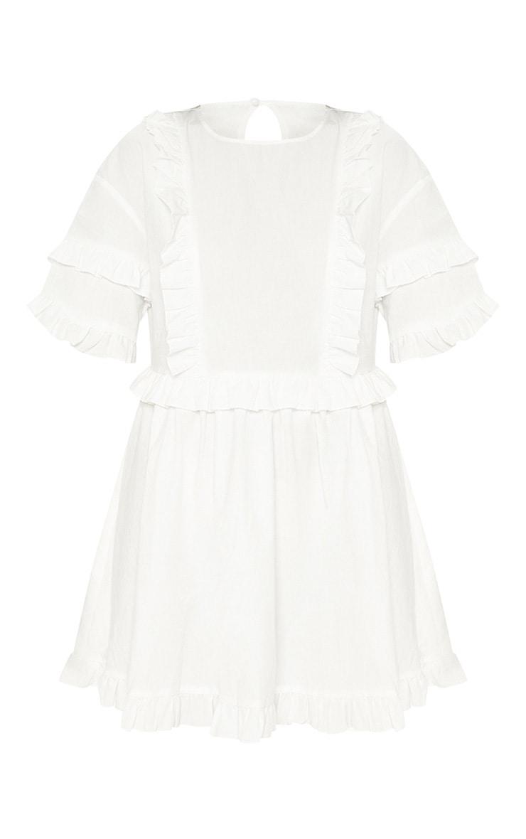 White Woven Frill Split Back Tea Dress 3