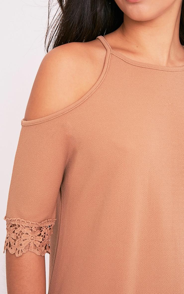 Christie Camel Lace Trim Cold Shoulder Dress 6