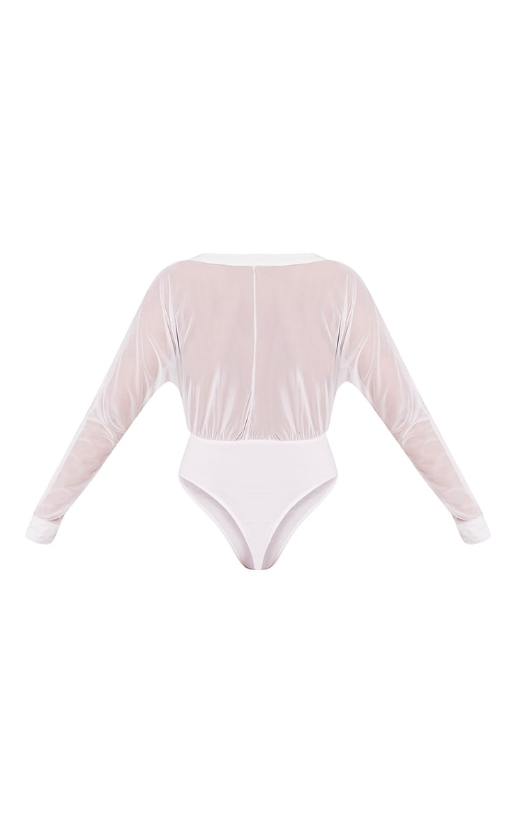 Yulia body-string en jersey à décolleté plongeant en tulle crème 4