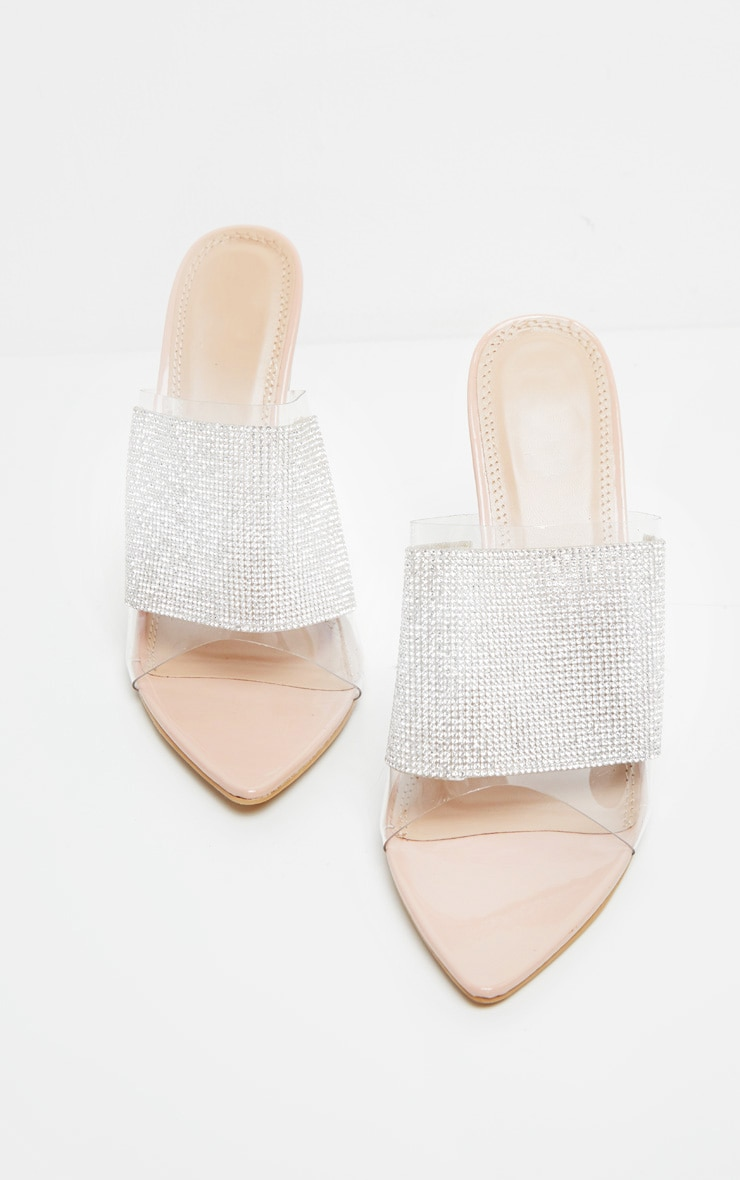 Silver Diamante Point Toe Mule 4