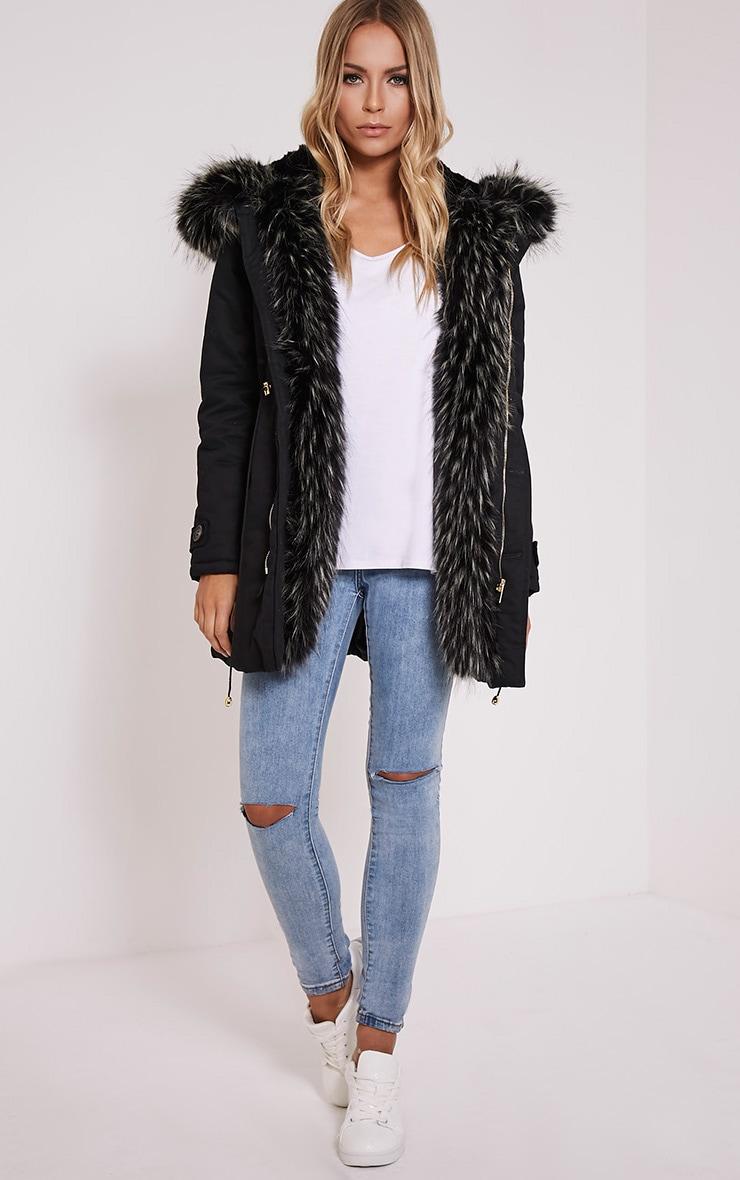 Emmi Black Premium Faux Fur Lined Parka Coat 5