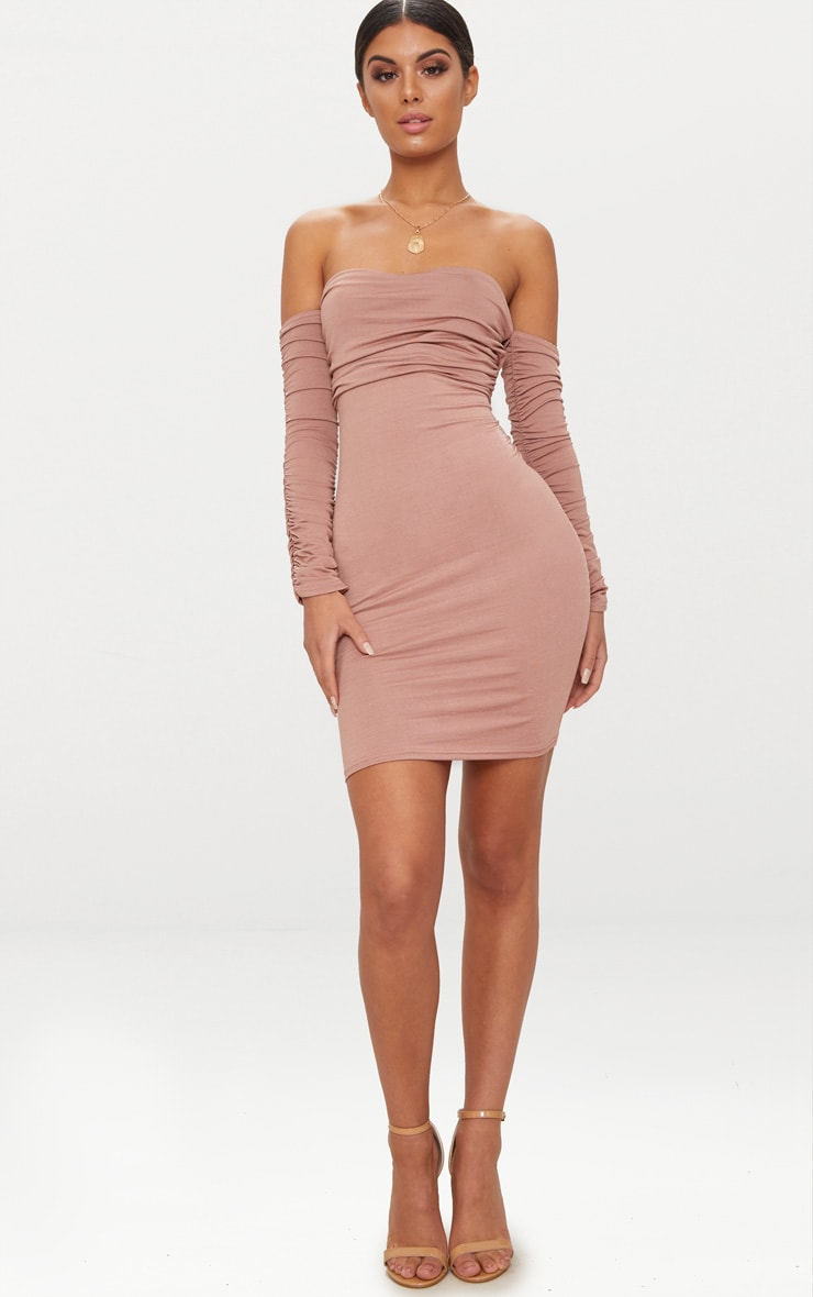 Nude Ruched Front Ruched Arm Bandeau Bodycon Dress 4