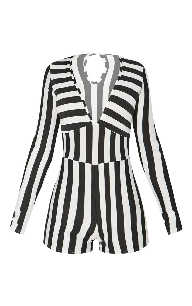 Monochrome Striped Long Sleeve Plunge Playsuit 3
