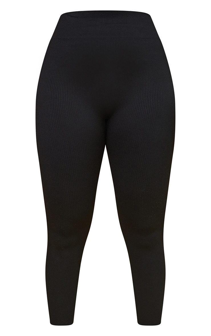 Black Premium Ribbed Seamless Legging 5