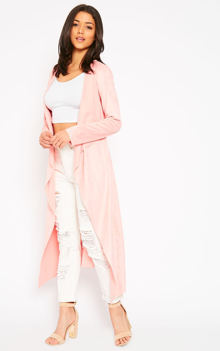 Liberty Baby Pink Suede Waterfall Coat 3