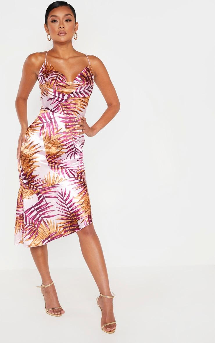 Pink Tropical Print Satin Cowl Neck Midi Dress 1