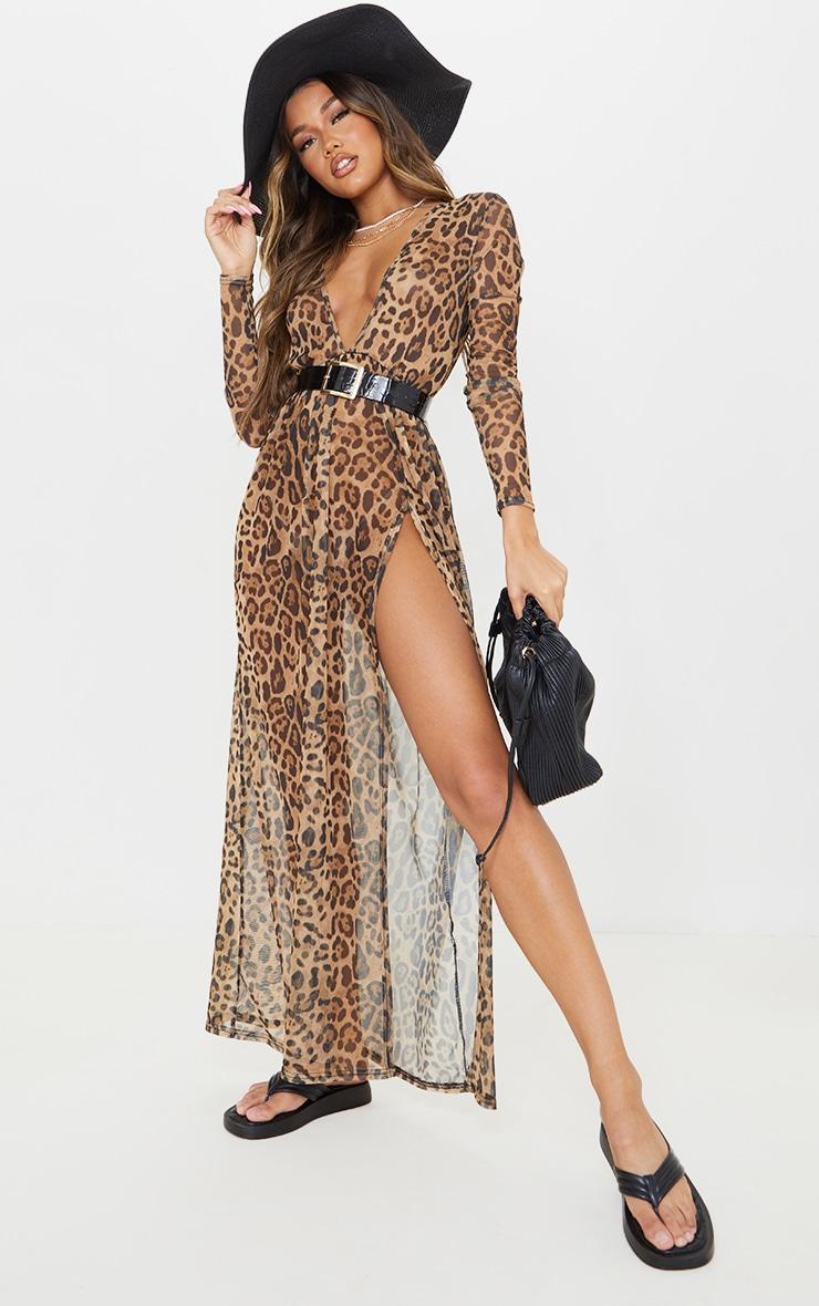 Brown Leopard Print Sheer Mesh Plunge Long Sleeve Split Maxi Dress 1