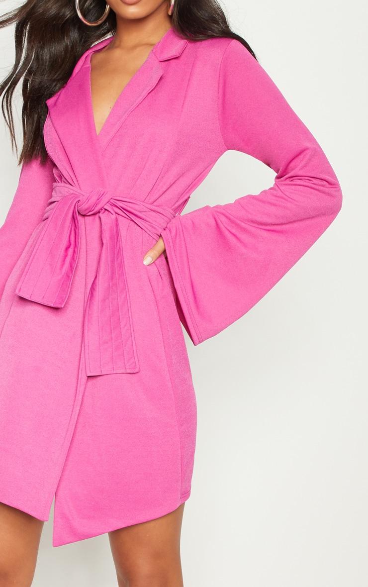 Fuchsia Pleated Belt Blazer Dress 5