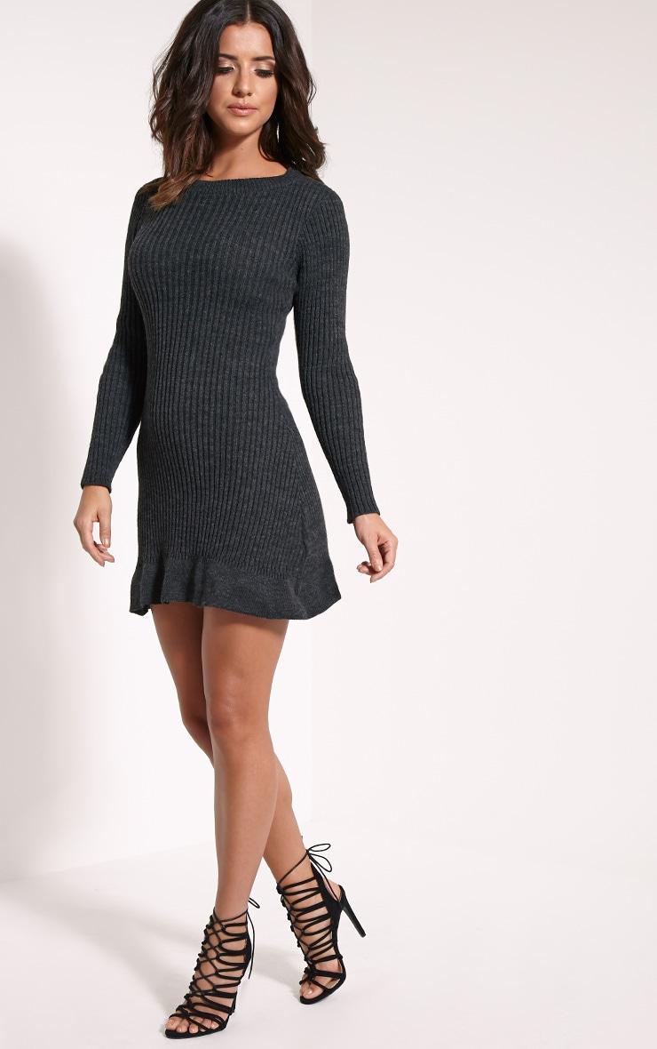 Laney Dark Grey Knitted Frill Hem Dress 4