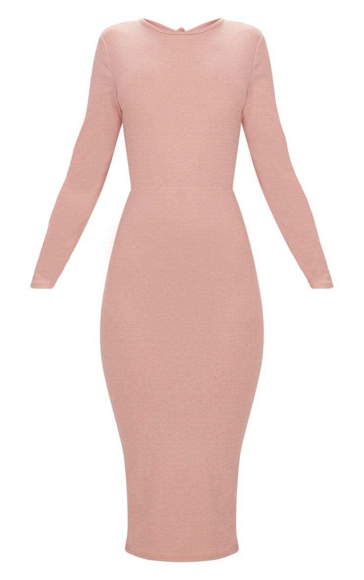 Dusty Pink Backless Bow Detail Midi Dress 3