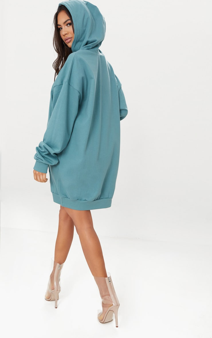 Mineral Blue Oversized Hoodie Dress 2