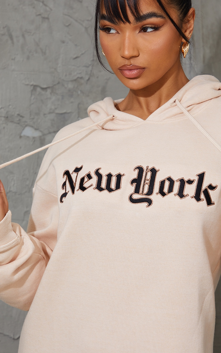 New York Stone Gothic Slogan Sweatshirt Dress 4