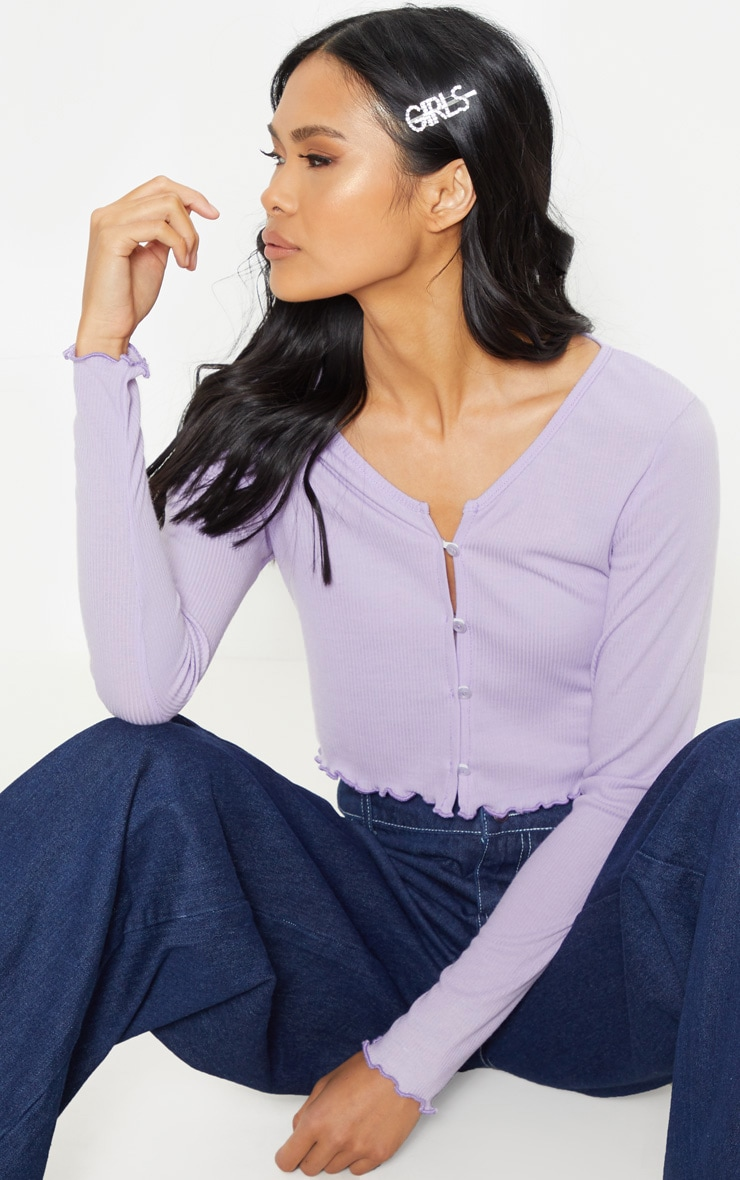 Lilac Rib Button Front Long Sleeve Crop Top 1