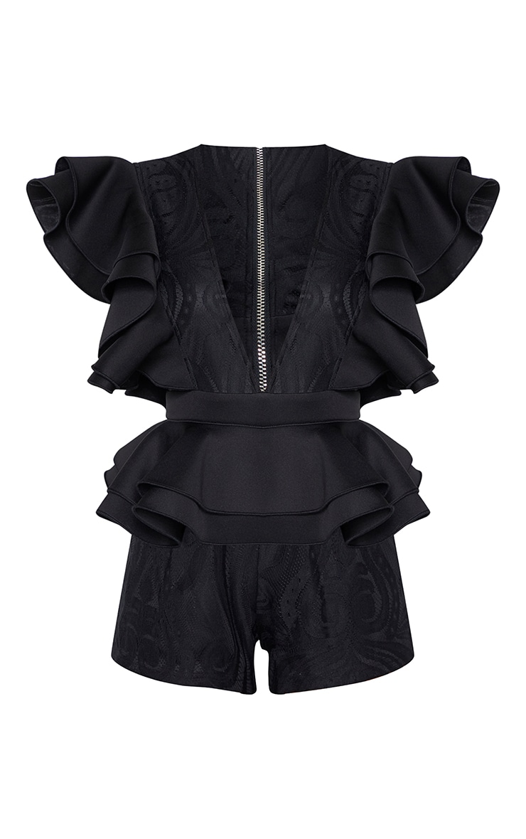 Black Lace Ruffle Romper  3